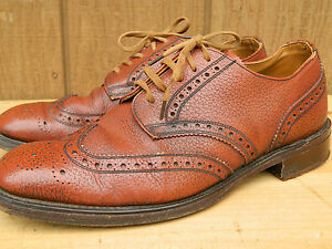 1960's Unknown Brand Wing Tio Brown Leather Shoes Men's Size 9 Used- Very Good