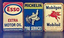 ESSO-MICHELIN-MOBILGAS Retro Style METAL SIGN Garage Wall Decor 16X12Cm Set Of 3