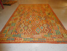 Handmade Kilim rug great quality 7'10''x11& #039;4'' wool large carpet
