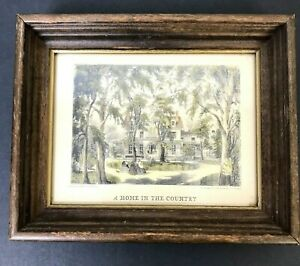 """Currier & Ives A Home In The Country Lithograph Fanny Palmer Framed 8 x 6.5"""""""