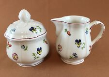 """Villeroy And Boch Petite Fleur 3 ½"""" 8 oz. Creamer and 2 ½""""  Sugar Bowl with Lid"""