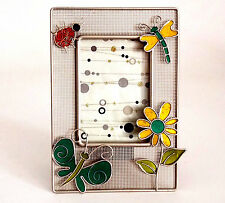 "PHOTO FRAME HOLDS 5 X 3 1/2"" PHOTO WITH BEETLE, DRAGONFLIES & FLOWER FIGURINES"
