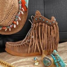 Indian Fashion Fringe Style Retro Women Ankle Short Boots Tassels Lace Up Boots