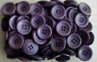 Large 25mm 40L Deep Purple Plum 4 Hole Coat Jacket Satin Button Buttons (K153)