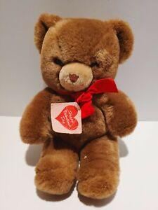 "Vintage 1983 GUND Brown Teddy Bear Red Bow 13"" Stuffed Animal Plush Toy Korea"