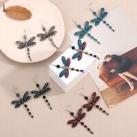 Women's Gorgeous Colors Dragonfly Crystal Rhinestone Dangle Drop Hook Earrings-