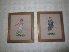 "PAIR Gold Framed PINKIE GIRL & BLUE BOY Needlepoint & Petit Point - 12"" x 14"""