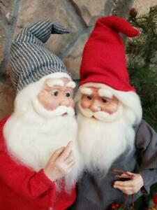 "Set 2 NWT 20"" Santa's Elves ELF Red Gray Christmas Figure Display Prop"