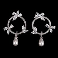 Crystal Drop Pearl Earrings - 925 Silver / Gold Plated With Zircon Stones