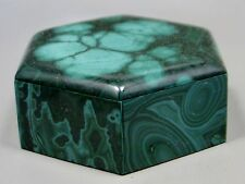 Stone Box Malachite Hexagon Shaped 3 inch Gemstone Jewelry Ring Pill #17