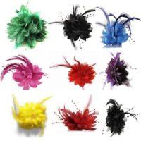 Women Bridal Flower Hair Band Hair Clip Feather Barrette Wedding Party Headwear