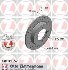 Disque de frein arriere ZIMMERMANN PERCE 610.1198.52 VOLVO V40 Break VW 1.8 i 12