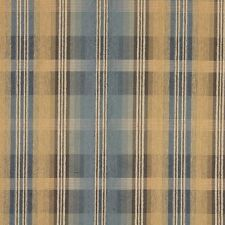 F154 Blue Brown And Gold Plaid Chenille Upholstery Grade Fabric By The Yard