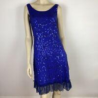 Boo Radley Australia Women's Sequined Frilled Lace Hem Blue Dress Size 8 ~A5