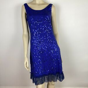 Boo Radley Australia Women's Sequined Frilled Lace Hem Blue Dress Size 8 ~A5