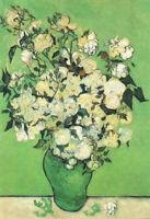 Oil painting Vincent Van Gogh - Roses dans un vase 1890 still life flowers art