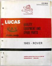Lucas ROVER Electrics Equipment & Spare Parts Jan 1965 #CCE 905/65