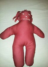 Rag Doll Red Maroon Hand Stitched Folk Art Handmade Country Baby