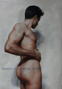 "Art prints cotton canvas transfer from oil painting male nude back men 24""x36"""