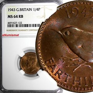Great Britain George VI Bronze 1943 Farthing NGC MS64 RB KM# 843