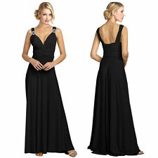 Elegant Rhinestone V-Neck Formal Party Cocktail Bridesmaid Evening Dress Black