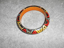 WOODEN BRACELET / BLUE / RED /YELLOW /  MADE IN INDIA STICKER - OPENING 2 5/8
