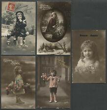 Five c.1910s French RPPC Photo Postcards BONNE ANNEE NEW YEAR Children Girls