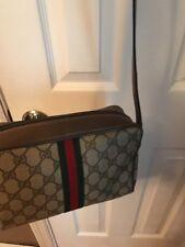 Vintage GUCCI Brown Monogram Coated Canvas Leather Shoulder/Crossbody Handbag