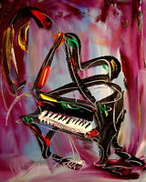 PIANO MUSIC IMPRESSIONIST pop art Abstract Modern CANVAS Origina PAINTING B6T6T
