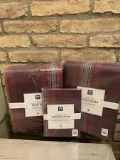 Pottery Barn Teen Trevor Maroon Plaid Twin Duvet Sheet Set Shams Bedding Set New