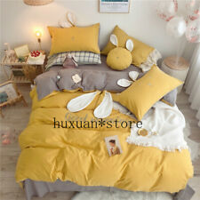 Rabbit Ears Embroidery 100% Washed Cotton Bedding Set Yellow Gray Duvet Cover