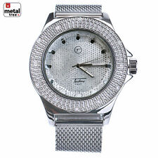 Men's Iced Heavy Large Silver Plated Mesh Band Bling Hip Hop Watches WM 7128 S