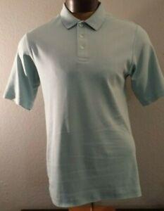 Lands End Baby Blue Peruvian Cotton Short Sleeve Button Collar Polo Shirt VTG M