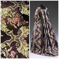 SWATCH Designer Brocade Satin Fabric- Brown Floral - Damask