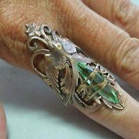 925 Silver Emerald Zircon Ring Classy Women Jewelry Anniversary Gift Size 6-10