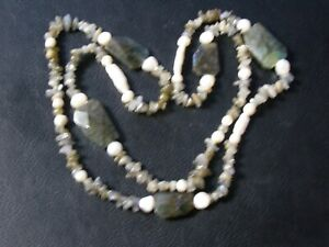 """Natural Labradorite Gemstone 34"""" Necklace With Real Freshwater Pearls Gift"""