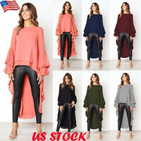 Plus Size Womens Long Sleeve Asymmetric Hem Shirt Ladies Ruffle Long Tops Blouse