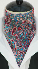 Mens Grey & Pink Paisley Cotton Ascot Cravat & Pocket Square - UK Made