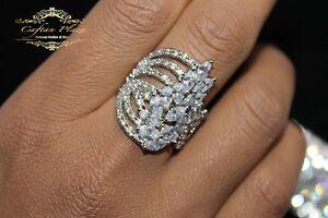 Damenring Ring 925 Sterling Silber mit Weisstopas Pinktopas Morganit Topas