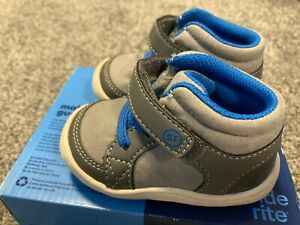 Stride Rite Ethan Toddler Boy's Size 3 Shoes Boots Gray Blue NEW