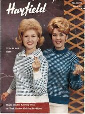 VINTAGE1960's KNITTING PATTERN 2 COLOUR JUMPERS FOR WOMEN