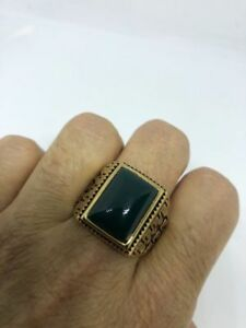 Vintage Golden Stainless Steel Genuine Green Chrysoprase Size 10.25 Men's Ring