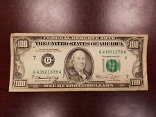 Series 1974 US One Hundred Dollar Bill $100 **Chicago** G43921379A