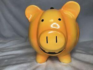 Orange Ceramic Halloween Piggy Bank Pig Pumpkin W/ Stopper Jack O Lantern Vamp