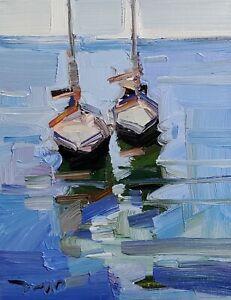 JOSE TRUJILLO Oil Painting IMPRESSIONISM CONTEMPORARY Seascape Boats Nautical