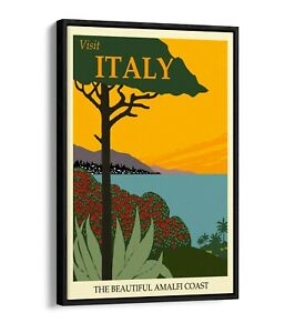 RETRO VINTAGE ITALY TRAVEL POSTER -FLOAT EFFECT CANVAS ART PRINT- BLUE, GREEN