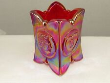 Red Iridescent Degenhart Museum Glass Toothpick Holder #10 Carnival Free-US-Ship
