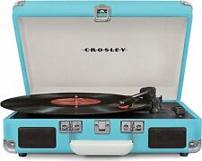 Crosley CR8005D-TU Cruiser Deluxe Turntable with Bluetooth Turquoise Vinyl NEW
