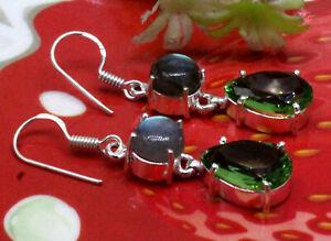 """925 Sterling Silver Labraorite & Peridot Gemstone Jewelry Earrings Size-1.20"""""""