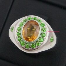 Natural Gemstones With 925 Sterling Silver Men's Ring